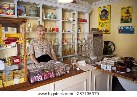 Bergen, Norway - July 20, 2018: The Grocery Store In Gamle Bergen Museum - Old Bergen Museum - The O