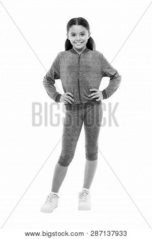 Deal with long hair while exercising. Girl cute kid with long ponytails wear sportive costume isolated on white. Working out with long hair. Sport for girls. Guidance on working out with long hair. poster