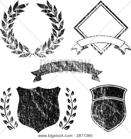 Grunge Banner And Logo Elements - Vector File