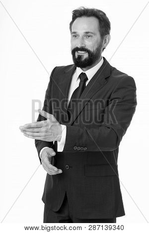Businessman Glad To Meet You. Businessman Formal Suit Mature Man Isolated White. Businessman Bearded