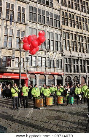 Drummers on Grote Market, Antwerp