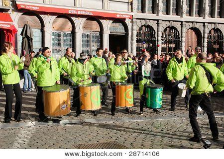 Drummers on Grote Market , Antwerp
