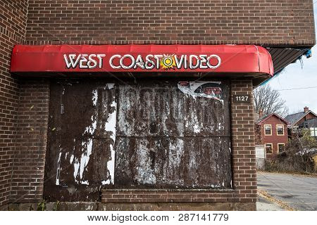 Ottawa, Canada - November 12, 2018: West Coast Video Logo In Front Of Their Former Store, Abandoned,