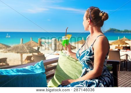 Attractive Woman Enjoying A Beautiful View Of The Tropical Beach In Summer Vacation In Myanmar. Posi