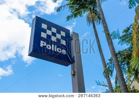 Australian Police Station Sign In Sydney New South Wales Australia