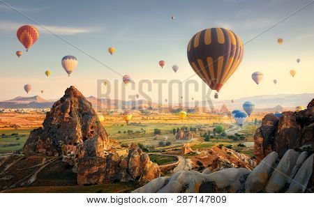 Beautiful Morning Scenic With A Balloon Flight Over The Spectacular Cappadocia, Turkey.