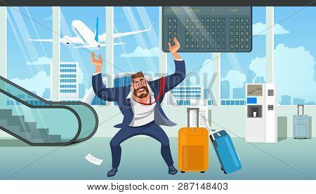 Businessman In Stress, Angry Because Of Late On Plane, Missing Baggage After Arrival In Airport Cart