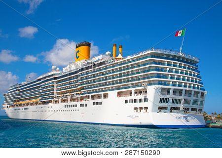 NASSAU - February 12: Costa Deliziosa visiting Nassau on the cruise in Caribbean sea on February 12, 2019 in Nassau, Commonwealth of the Bahamas. Nassau is capital and cruise destination of Bahamas.