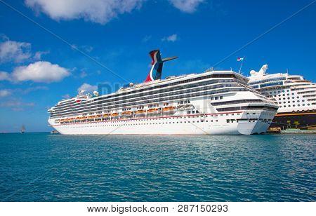 NASSAU - February 12: Carnival Liberty visiting Nassau on the cruise in Caribbean sea on February 12, 2019 in Nassau, Commonwealth of the Bahamas. Nassau is capital and cruise destination of Bahamas.