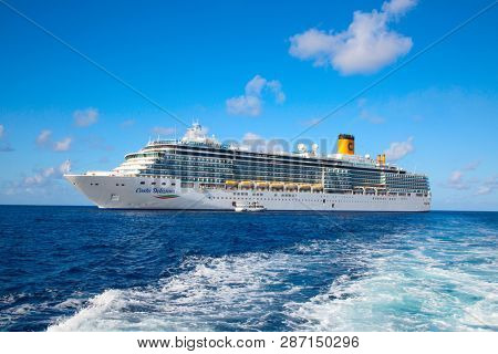 GEORGE TOWN - February 16: Costa Deliziosa visiting George town on the cruise in Caribbean sea on February 16, 2019 in George town, Cayman islands. George town is cruise destination on Grand Cayman.
