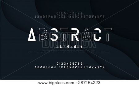 Abstract Thin Line Font Minimal Alphabet. Modern Fonts And Numbers. Typography Urban Typeface Upperc