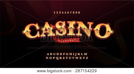 Casino Luxury 3d Alphabet Gold Logotype With Royal Font. Typography Red And Golden Fonts Letters Upp