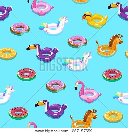 Swimming Toys Seamless Pattern. Pool Floating Summer Inflatable Toy Sea Print Float Kid Fashion Text