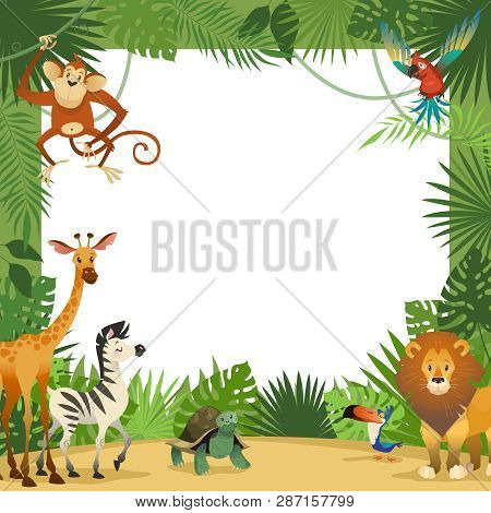 Jungle Animals Card. Frame Animal Tropical Leaves Greeting Baby Banner Zoo Border Template Party Chi