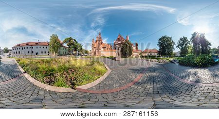 Vilnius, Lithuania - September 2018, Full Seamless 360 Degrees Angle View Panorama In Old City With