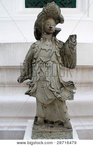 Stone statue of chinese goddess in wat Bowonniwet Bangkok Thailand poster