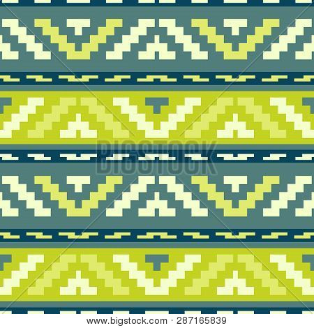 Geen Stripped Tribal Geometric Pattern. Abstract Ethno Pattern For Wallpapers, Covers, Web Page Back