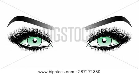 Green Woman Eyes With Long False Lashes With Eyebrows. Vector Illustration Isolated On White Backgro
