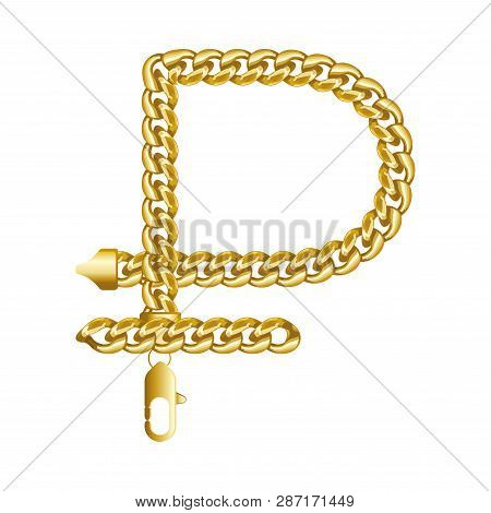 Gold Russian Rouble, Ruble Money Sign Made Of Shiny Thick Golden Chain. Realistic Vector Detailed Il