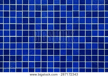 Blue mosaic tiles. Background texture.
