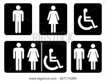 Washroom Sign - Restroom Symbol.male Washroom Icon,female Washroom Icon Collection In Black Backgrou