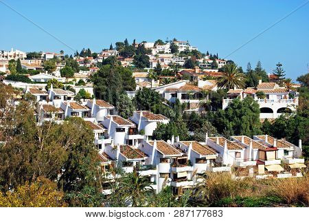 Traditional Spanish Villas And Houses On The Hillside, Benalmadena Pueblo, Costa Del Sol, Andalusia,