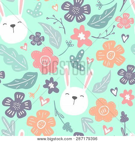 Spring Flowers. Vector Seamless Pattern With Flowers, Leaves And Rabbits. Fresh Pattern For Home Dec