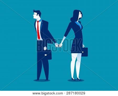 Dishonesty. Businessman Giving Money To Woman Behind Back. Concept Business Illustration. Vector Bus