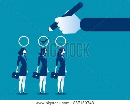 Business Manager Hand Selection Woman Appropriate Candidate. Concept Business Best Candidate Vector