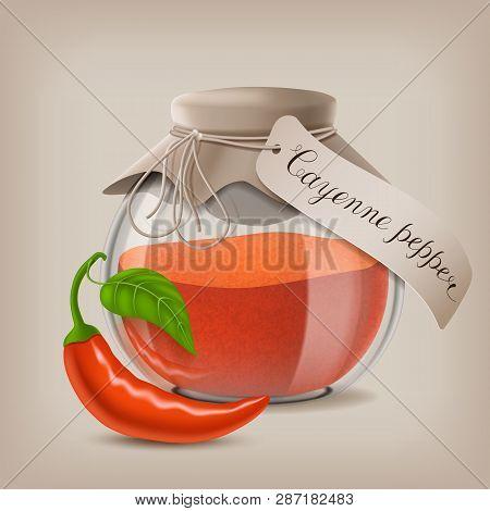 Ground Cayenne Pepper In Glass Jar. Vector Illustration