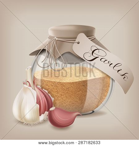 Ground Dry Garlic In A Glass Jar With Whole Garlic. Vector Illustration