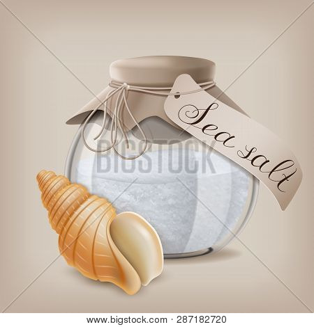 Sea Salt In A Glass Jar And Seashell. Vector Illustration