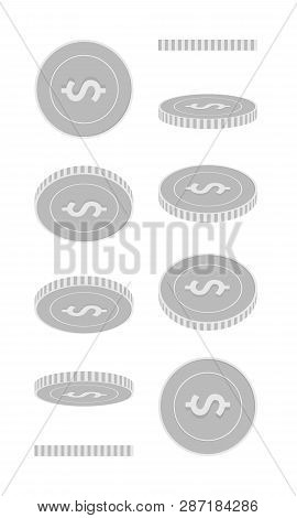 American Dollar Rotating Coins Set, Animation Ready. Black And White Usd Silver Coins Rotation. Usa