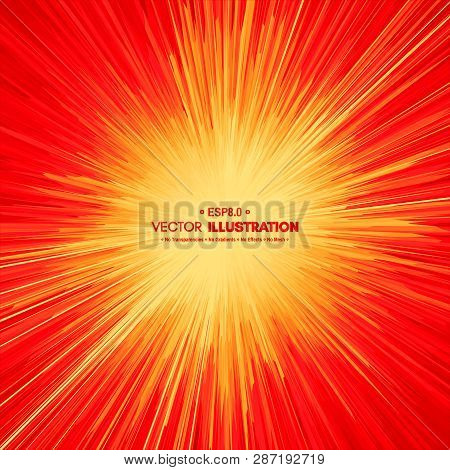 Background With Explosion. Starburst Dynamic Lines. Solar Or Starlight Emission. 3d Futuristic Techn