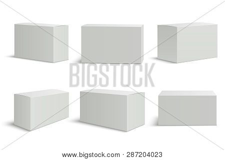 White Boxes Templates. Blank Medical Box 3d Isolated Paper Packaging. Rectangle Carton Package Vecto