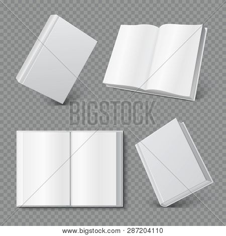 Book Cover Mockup. Realistic Blank Booklet Cover, White Brochure Surface, Empty Paperback Magazine M