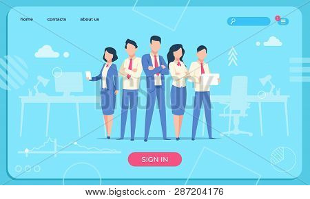 Business Characters Web Page. Flat Office People Cartoon Cartoon Funny Male And Woman. Business Char