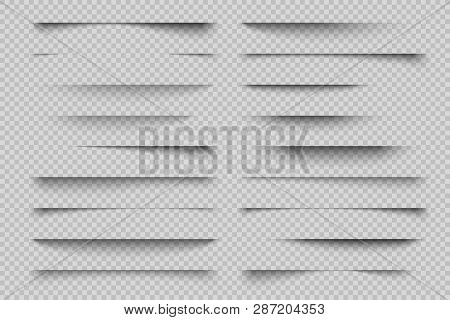 Paper Shadow Effect. Transparent Page Divider Realistic Shadows, Website Panel Tabs, Banner Vector S