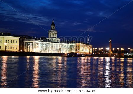 Night view of the University Embankment and Kunstkamera in St.PetersburgRussia poster