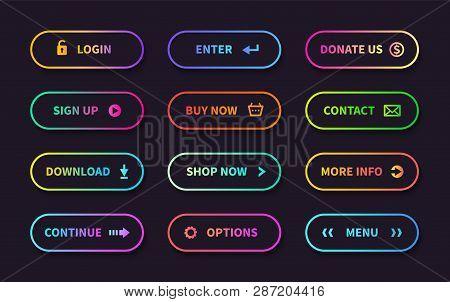 Gradient Action Buttons. Flat Web Submit Form, Modern Transition Sign, Game Navigation Ui Design Ele