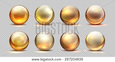 Collagen Golden Balls. Realistic Cosmetic Oil, Liquid Serum Drop, Transparent Isolated 3d Pills. Vec