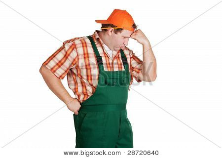 Worker Dressed In Overall