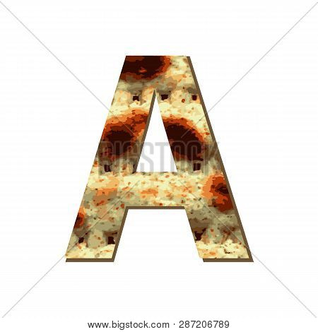 Capital English Letter A With Matza Texture. Font For Passover. Vector Illustration On Isolated Back