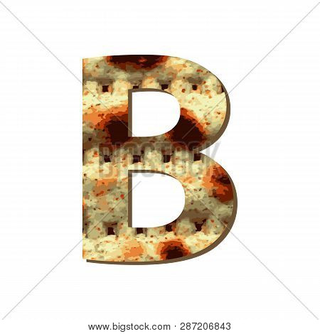 Capital English Letter B With Matza Texture. Font For Passover. Vector Illustration On Isolated Back