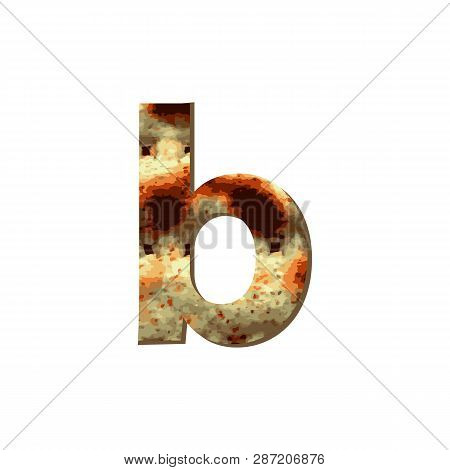 English Lowercase Letter B With Matza Texture. Font For Passover. Vector Illustration On Isolated Ba