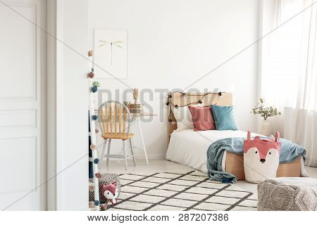 Colorful Bedroom Design For Teenager, Single Wooden Bed And Desk With Books