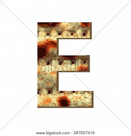 Capital English Letter E With Matza Texture. Font For Passover. Vector Illustration On Isolated Back