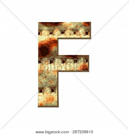 Capital English Letter F With Matza Texture. Font For Passover. Vector Illustration On Isolated Back