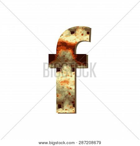 English Lowercase Letter F With Matza Texture. Font For Passover. Vector Illustration On Isolated Ba