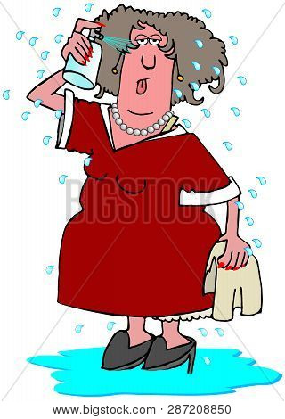 Illustration Of A Woman Having A Hot Flash With Perspiration Popping Off Of Her And Standing In A Pu